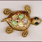 Too Cute Hollycraft Turtle Pin with Iridescent Moon Rock Stones
