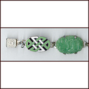Exquisite Art Deco Enamel & Molded Art Glass Bracelet