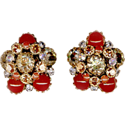 Flashy SCHREINER Aurora Borealis Clip Back Earrings
