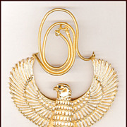 HUGE Egyptian Revival Horus Bird Pendant MINT