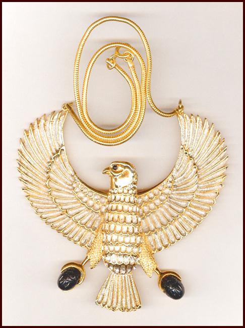 HUGE Egyptian Revival Horus Bird Pendant MINT