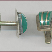 MEXICAN Sterling Silver & Green Stone Cufflinks