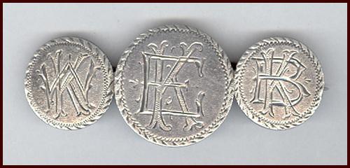 Lovely Antique Love Token Silver Coin Monogram Pin