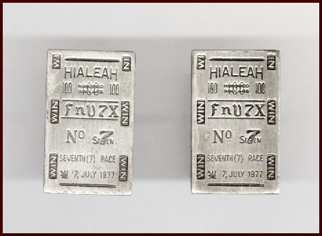 Novelty HIALEAH RACETRACK Ticket Cufflinks