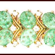 Exquisite Joseph MAZER Bracelet Faux Jade Cabochons, Rhinestones, Gold Tone
