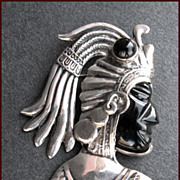 Spectacular Repousse Mexican Sterling Silver Aztec Mayan Warrior Face Pin
