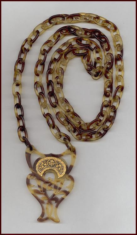 Victorian Revival Faux Tortoise Shell Necklace