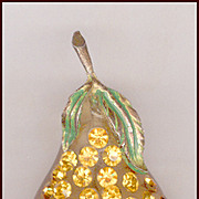 Gorgeous Forbidden Fruit Lucite & Rhinestone Pear Pin