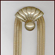 HUGE 9 Inch Long Embossed Brass & Chain Dress Clip