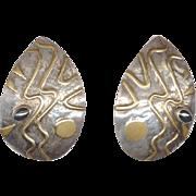 Signed Modernist Mixed Metal Earrings Pierced Ears
