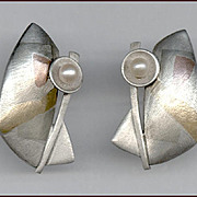 Modernist Artisan Signed Mixed Metal & Pearl Earrings Pierced Ears