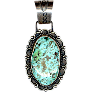 Large Signed E. Hale Native American Sterling Silver & Turquoise Pendant