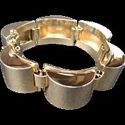 Hobe Machine Age Modernist Chunky Gold Tone Bracelet