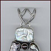 Dramatic Modernist Sterling Silver, Zoisite, Biwa Pearl, Abalone, Garnet Pendant