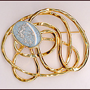 Modernist Style Gold Swirl Pin, Weird Glass Cabochon Woman and Spider