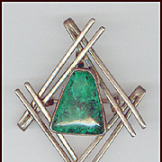Cool Modernist Sterling Silver Green Eilat Stone Pin/Pendant Israel