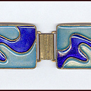 Modernist Cloisonne 2 Tone Blue Enameled Wave Bracelet