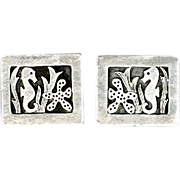 Charming Hawaii Sterling Silver Cufflinks with Seahorse and Starfish