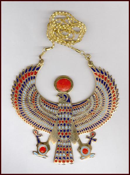 Huge MultiColor Enamel Egyptian Horus Pendant Necklace