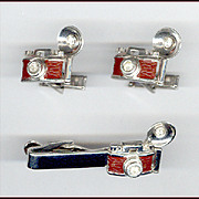 Too Cool Swank Vintage Flash Camera Cufflinks & Tie Clip Set