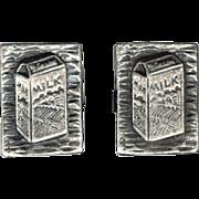 Novelty 3 Dimensional Milk Carton Cufflinks