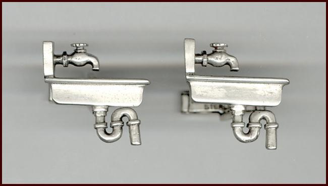 Fenwick & Sailors Sterling Silver Novelty Cufflinks Kitchen Sink