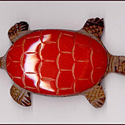 Large Vintage Red Bakelite & Rosewood Turtle Pin