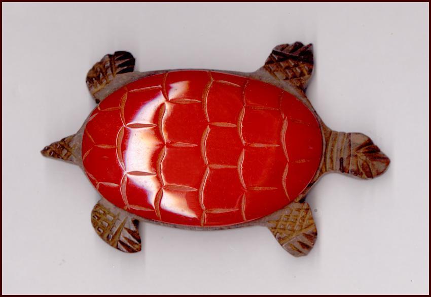 Large Vintage Red Bakelite & Rosewood Turtle Pin