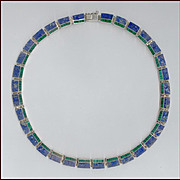 Sleek Modernist Style Lapis, Malachite & Sterling Silver Choker Necklace