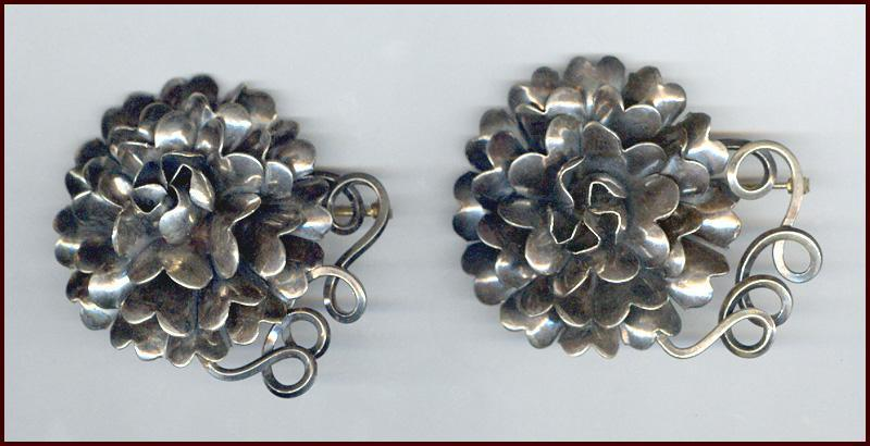 Heavyweight Pair of Hobe Sterling Silver 3 Dimensional Flower Pins 70 grams