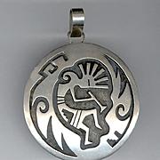 MONTE NAVASIE Hopi Silversmith Sterling Silver Overlay KOKOPELLI Pendant