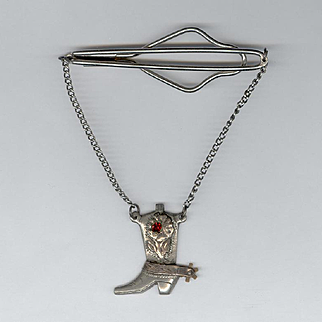 Mexican Sterling Silver Cowboy Boot Tie Clip