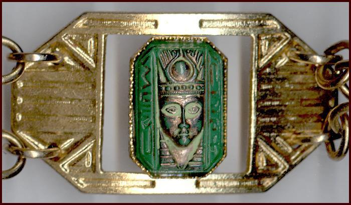 Egyptian Revival Bracelet Molded Glass Faces