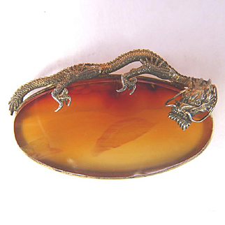 Exquisite Chinese Silver Dragon & Agate Slice Pin
