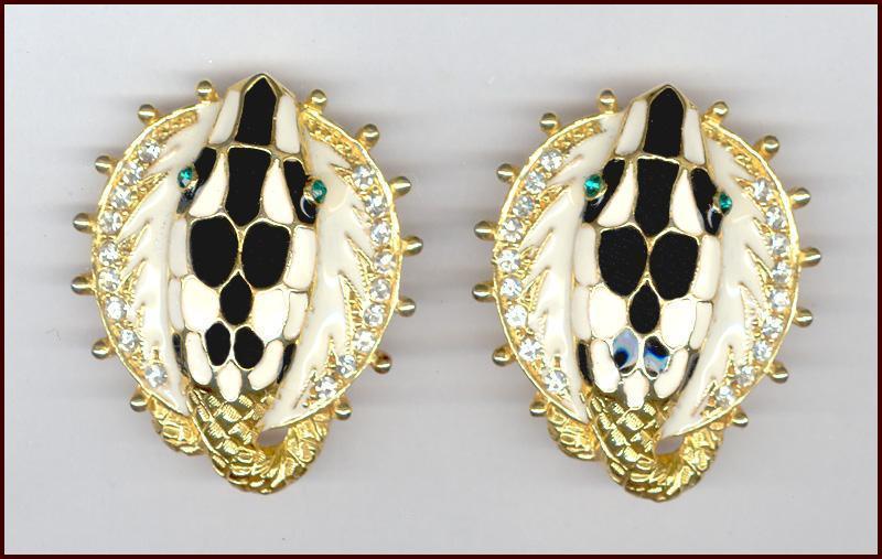 Fabulous Black & White Enameled Snake Head Clip Back Earrings