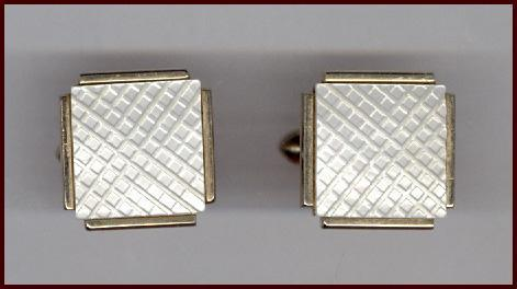 Beautiful SWANK Iridescent Mother of Pearl Cufflinks Crosshatch Pattern