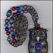 Too Cool Huge Multi-Color Owl Pin / Pendant