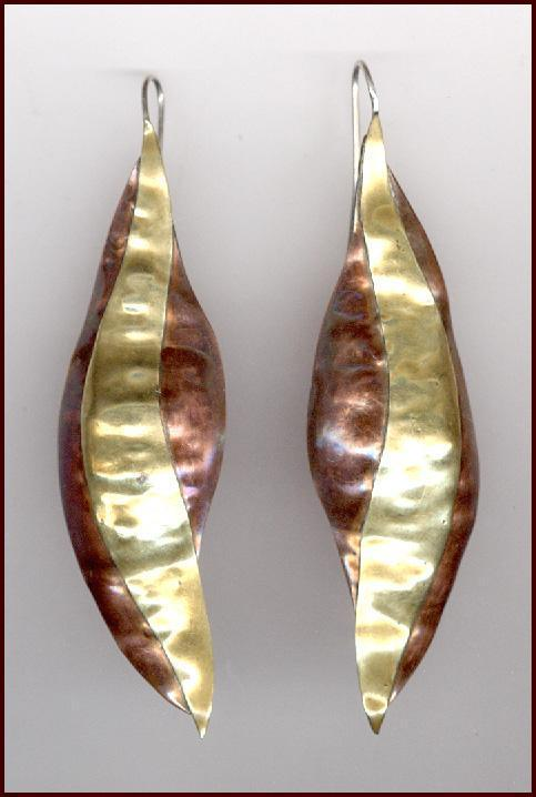Artisan Handwrought Mixed Metal Copper & Brass Earrings Pierced Ears