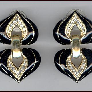 MINT Swarovski Black Enameled & Rhinestone Double Heart Shape Earrings for Pierced Ears