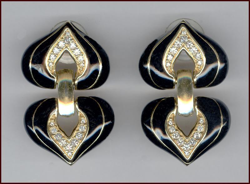 MINT Swarovski Black Enameled & Rhinestone Double Heart Shape Earrings for Pierced Ears