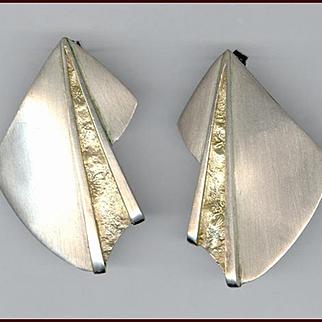 Modernist Signed Sterling Silver Earrings Pierced Ears