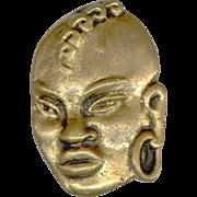 Heavyweight Cast Brass Ethnic Tribal Warrior Face Pin
