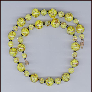 Canary Yellow & Aventurine Murano Glass Beads