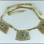 Signed Dominique Piechaud Medieval Style Brass & Enamel Necklace