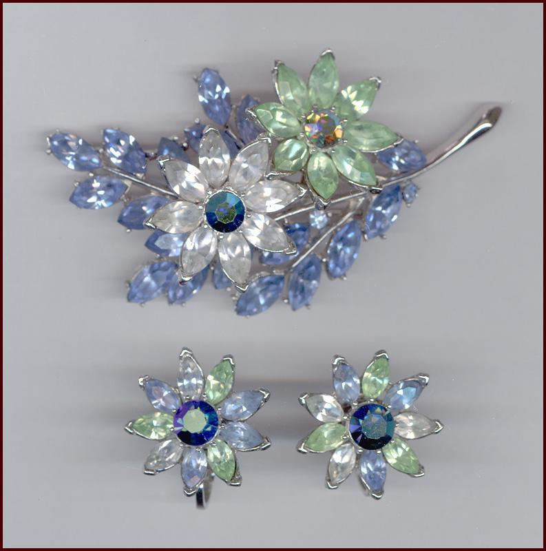 Gorgeous TRIFARI Multi-color Rhinestone Flower Pin & Clip Back Earrings Set