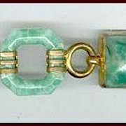 Cool Art Deco Jade Green Glass & Brass Link Bracelet