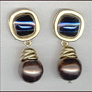 Elegant GIVENCHY Bronze Faux Pearl & Indigo Cushion Cut Glass Cabochon Clip Back Earrings