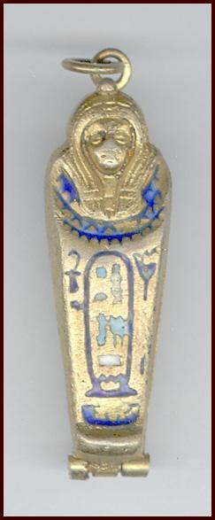 Miniature Egyptian Mummy Case Charm, Opens with Removable Mummy