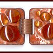 Eye-Popping Orange Enamel on Copper Bracelet With Glass Cookies