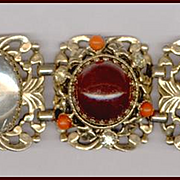 HUGE Selro Bracelet Root Beer & Clear Cabochons in Ornate Settings